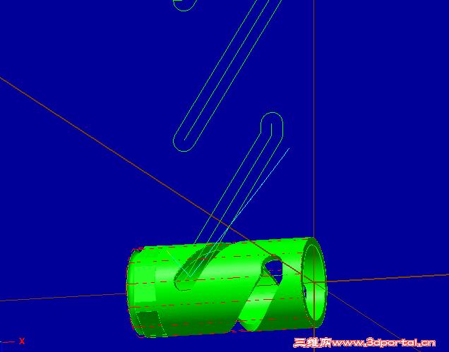 请教各位大神如何用四轴铣这个圆柱凸轮槽 Mastercam图片