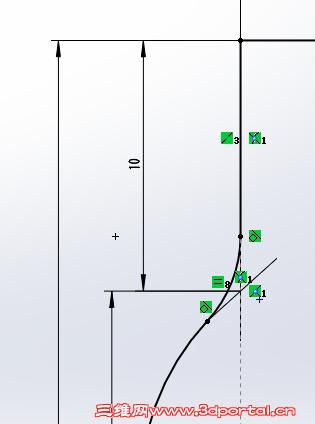 草图倒圆角后原来的顶点线怎么显示